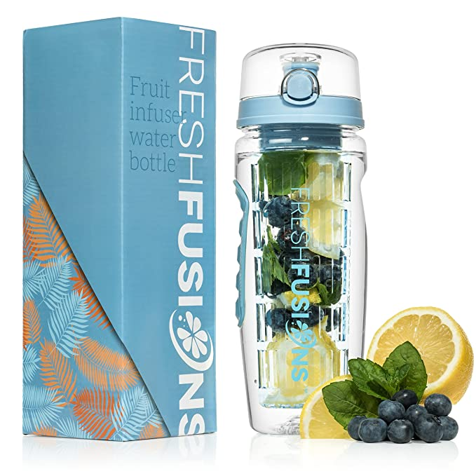 b89e073c83 Fresh Fusions Fruit Infuser Water Bottle 32 oz - With Insulated Sleeve +  Healthy Recipe Ebook - Includes 25 Infused Water