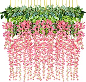 12 Pack 1 Piece 3.6 Feet Artificial Fake Wisteria Vine Ratta Hanging Garland Silk Flowers String Home Party Wedding Decor (Pink)