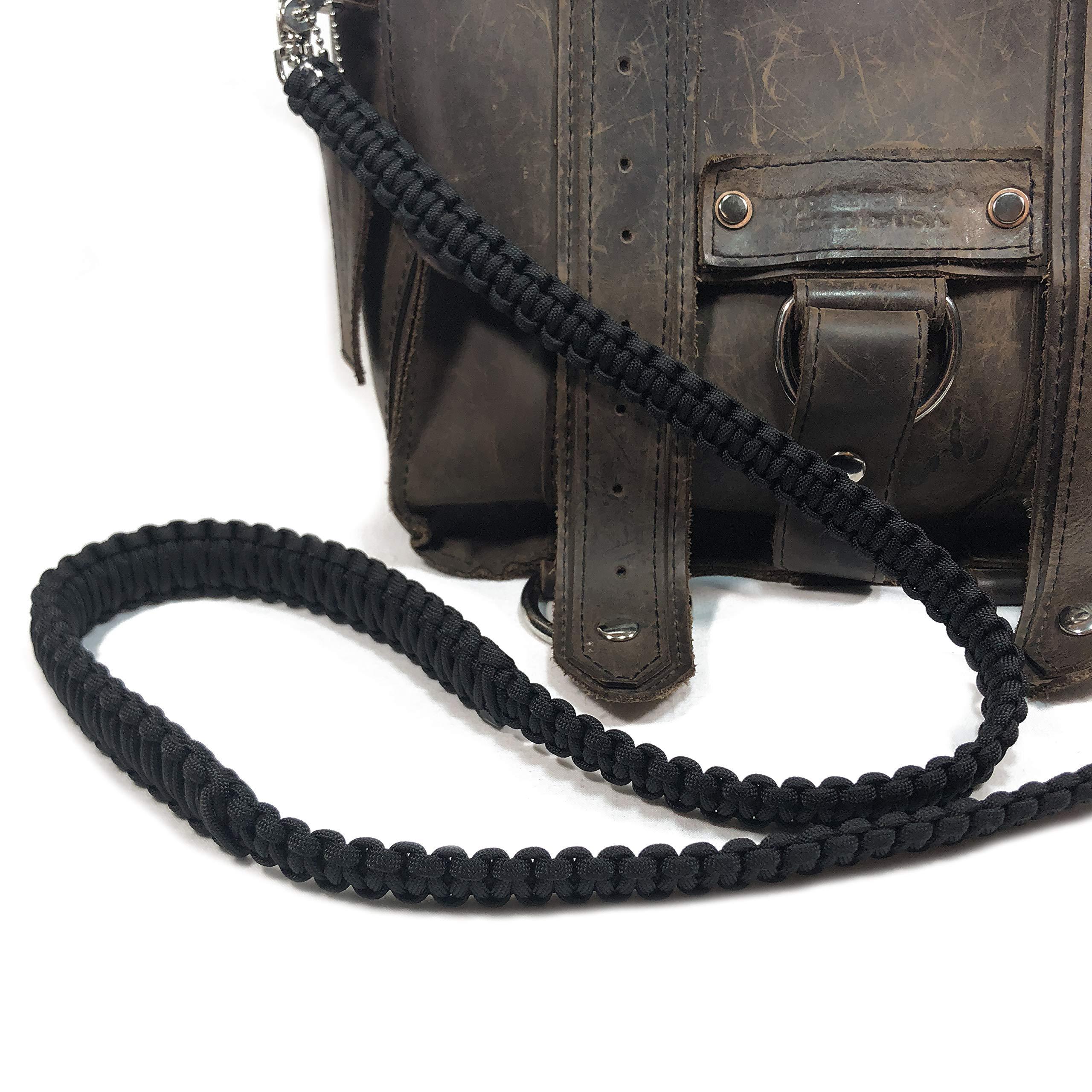 Black Paracord 46 inch Cross Body Shoulder Strap, Handbag, Satchel Strap, Duffel Bag, Lunch Bag