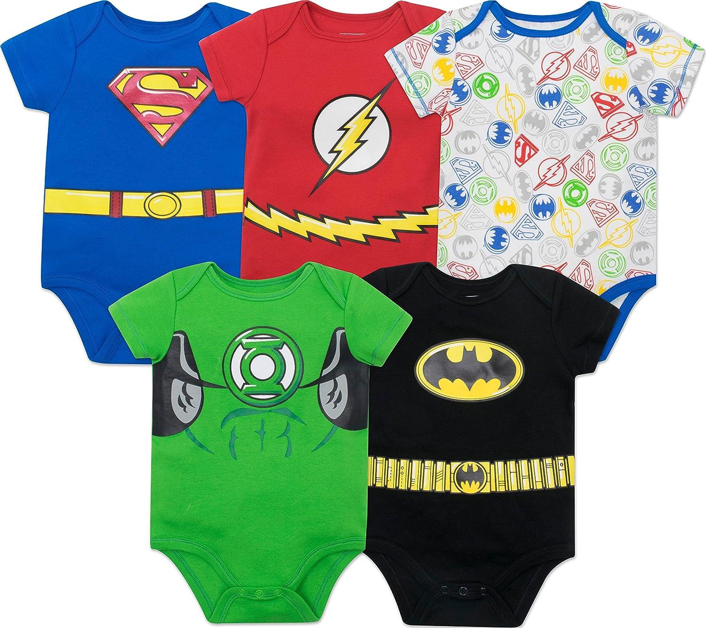Justice League Baby Boys 5 Pack Superhero Bodysuits Superman Batman The Flash /& Green Lantern