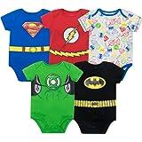Justice League Baby Boys' 5 Pack Superhero Bodysuits - Batman, Superman, The Flash and Green Lantern
