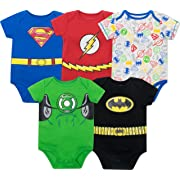 Justice League Baby Boys' 5 Pack Superhero Bodysuits - Batman, Superman, The Flash and Green Lantern