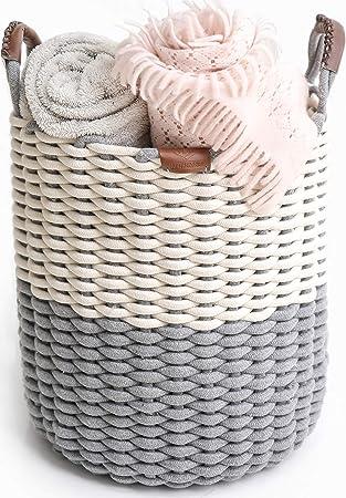 Gr/ö/ße S Aufbewahrungskorb aus Baumwollseil mit Quaste Kinderzimmer dekorativer Korb f/ür Schreibtischregal