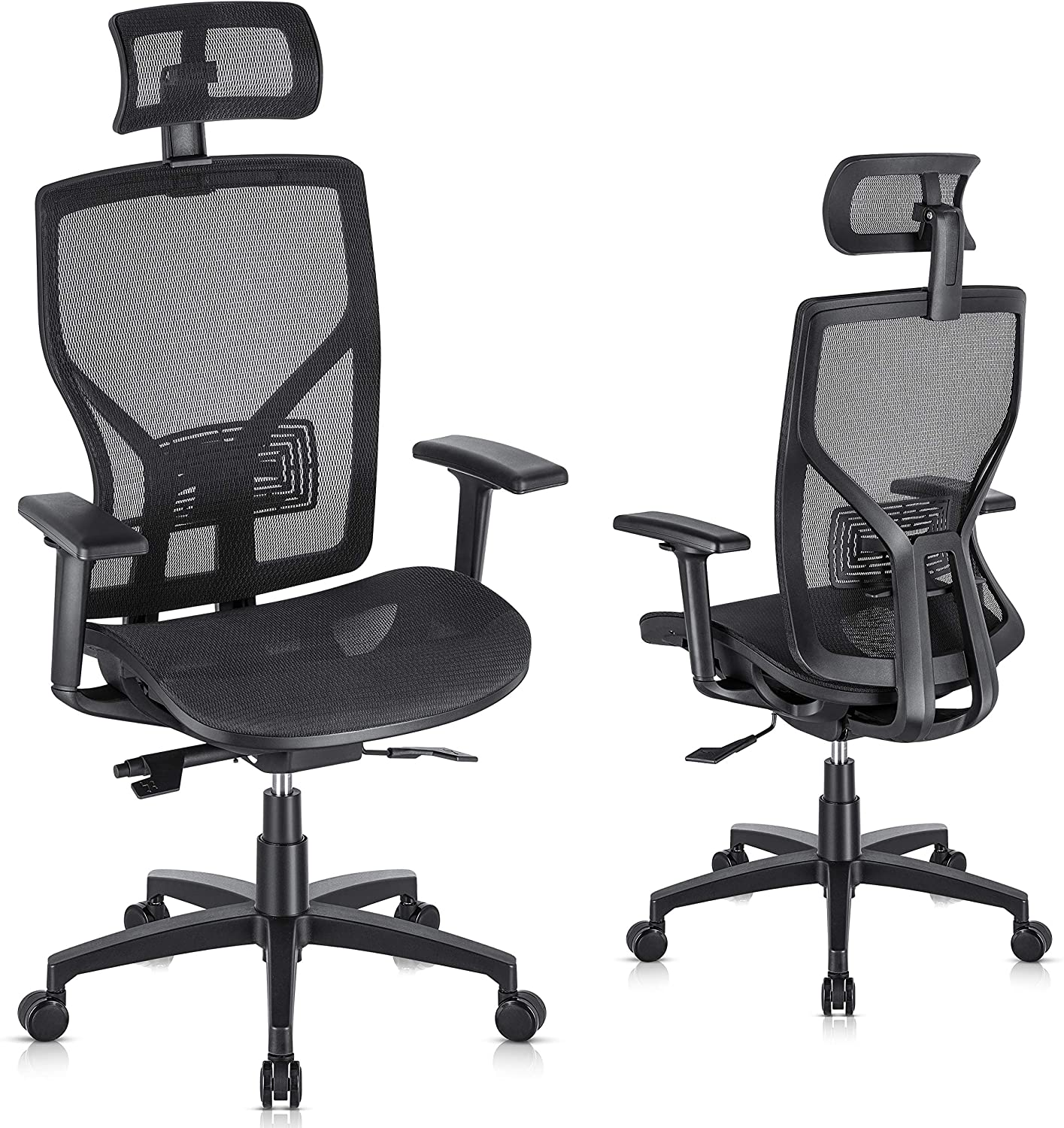 SUNNOW Ergonomic Office Chair Computer Mesh Chair with Adjustable Lumbar Support, Headrest, 3D Armrest-High Back Swviel Task Executive Chair for Home Office