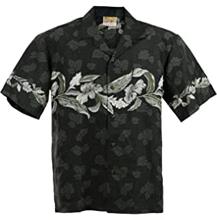 Hajotrawa Mens Floral Printed Lapel Neck Curved Hem Basic Button Down Shirts
