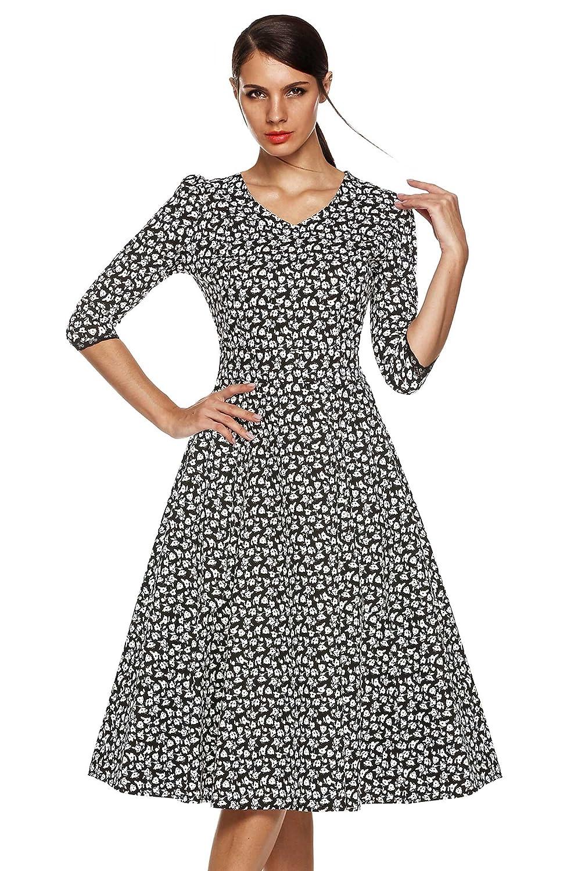 CRAVOG Elegant Damen Vintage Rockabilly Partykleid Abendkleid Sommerkleid Cocktailkleid