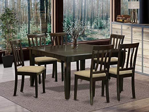 Amazon Com 7 Pc Dining Room Set For 6 Square Dining Table With Leaf And 6 Dining Chairs Furniture Decor