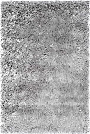 Amazon Com Safavieh Faux Sheep Skin Collection Fss235d Silken Glam 2 35 Inch Thick Accent Rug 2 X 3 Grey Furniture Decor