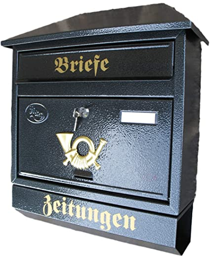 Naturholz-Schreinermeister Gro/ßer Briefkasten//Postkasten XXL Gr/ün mit Zeitungsrolle Schr/ägdach Trapezdach