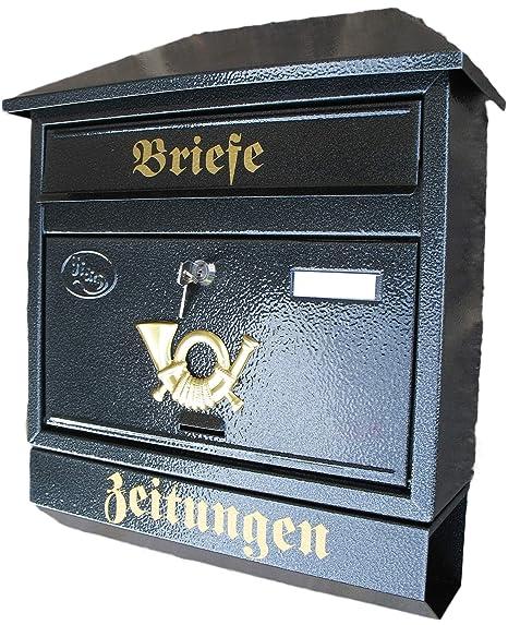 Turbo Großer Briefkasten / Postkasten XXL Anthrazit mit Zeitungsrolle XE85