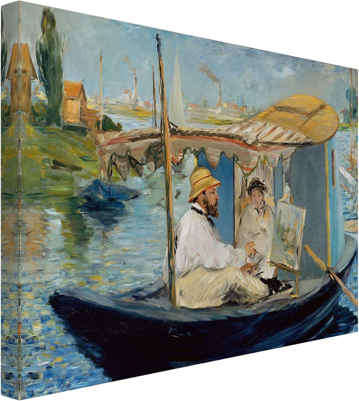 Bilderwelten Cuadro en Lienzo - Edouard Manet - Claude Monet Pintura en su Barco - Apaisado 3:4, Cuadro Lienzo Cuadro sobre Lienzo Cuadro Decoracion Cuadros Decorativos Cuadro XXL, Tamaño: 70 x 100cm