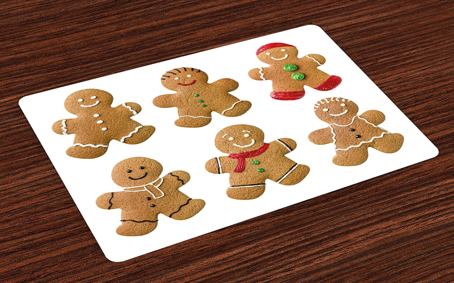 Ambesonne Gingerbread Man Place Mats Set of 4, Vivid Homemade Biscuits Sugary Xmas Treats Sweet Tasty Pastry, Washable Fabric Placemats for Dining Room Kitchen Table Decor, Pale Brown Red Green