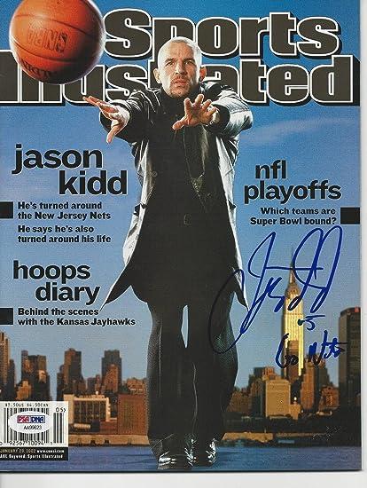 54e2900b8 JASON KIDD (Nets) Signed SPORTS ILLUSTRATED w COA (NO Label) - PSA ...