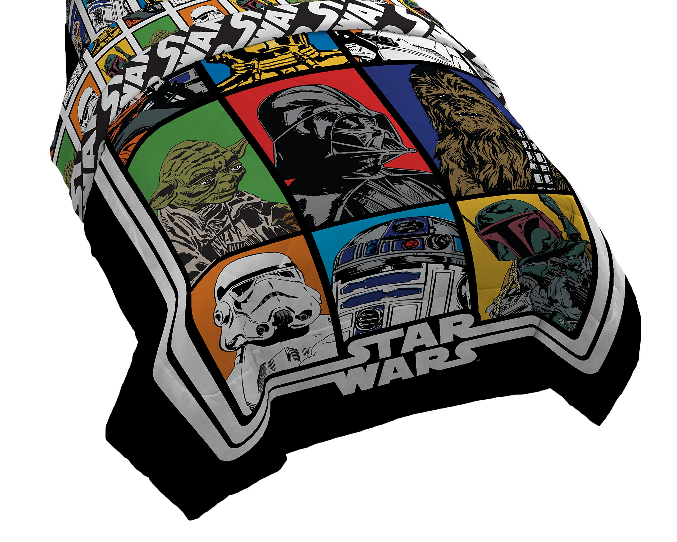 Lucas Film Star Wars Classic Twin/Full Comforter - Super Soft Kids Reversible Bedding - Fade Resistant Polyester Microfiber Fill (Official Star Wars Product)