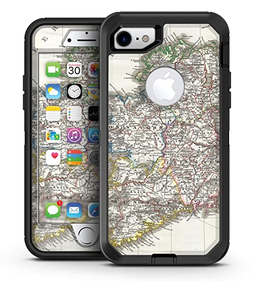 best service 75df2 763a4 Amazon.com: The Vintage Ireland Map - iPhone 7 OtterBox Defender and ...