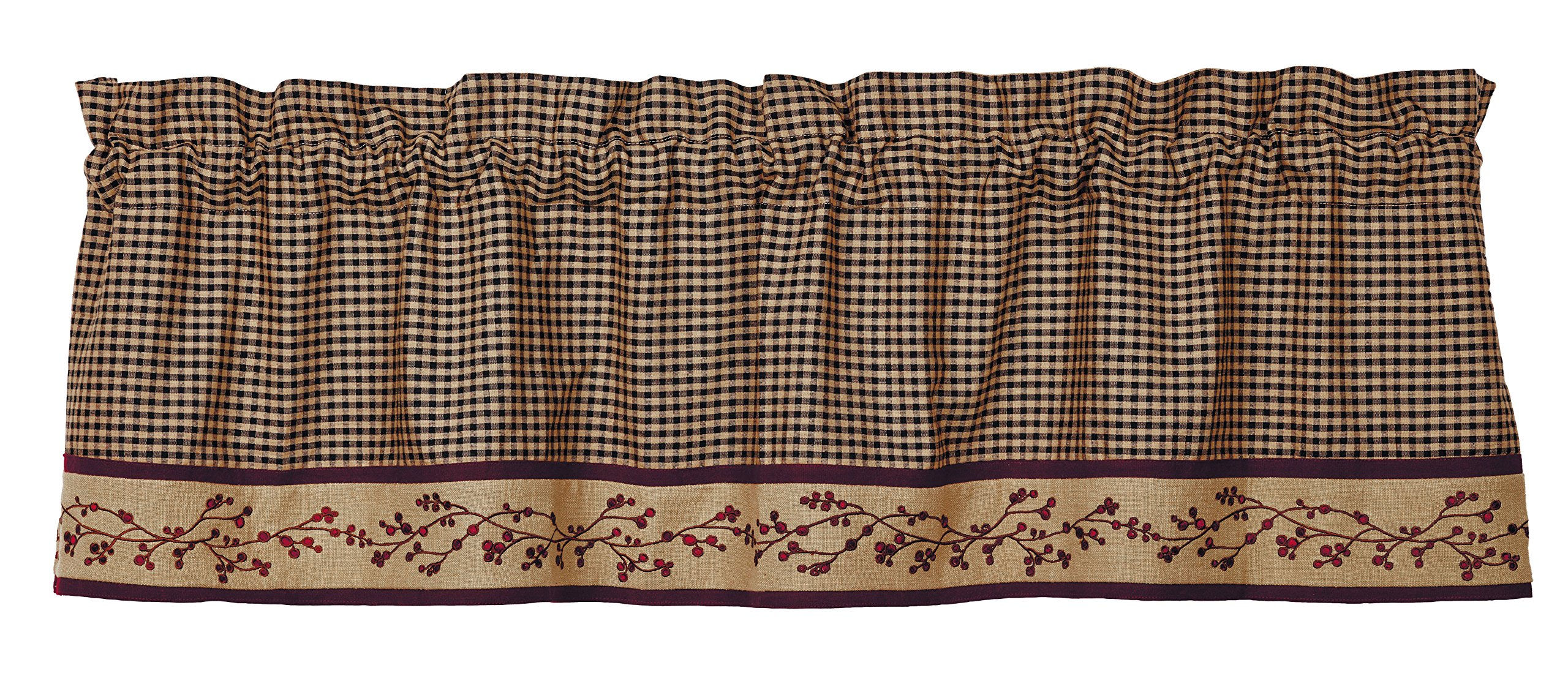 Piper Classics Berry Vine Valance, 60''x16'', Country Primitive Curtain, Black Check with Embroidered Berry Vine