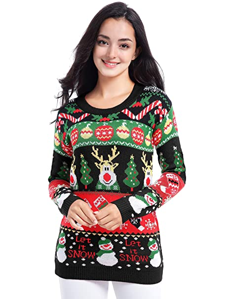 Ugliest Christmas Sweater.V28 Ugly Christmas Sweater For Women Vintage Funny Merry Tunic Knit Sweaters