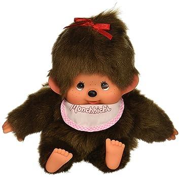 Sekiguchi Monchhichi – Muñeco original mano marioneta niña mono de peluche con rosa babero