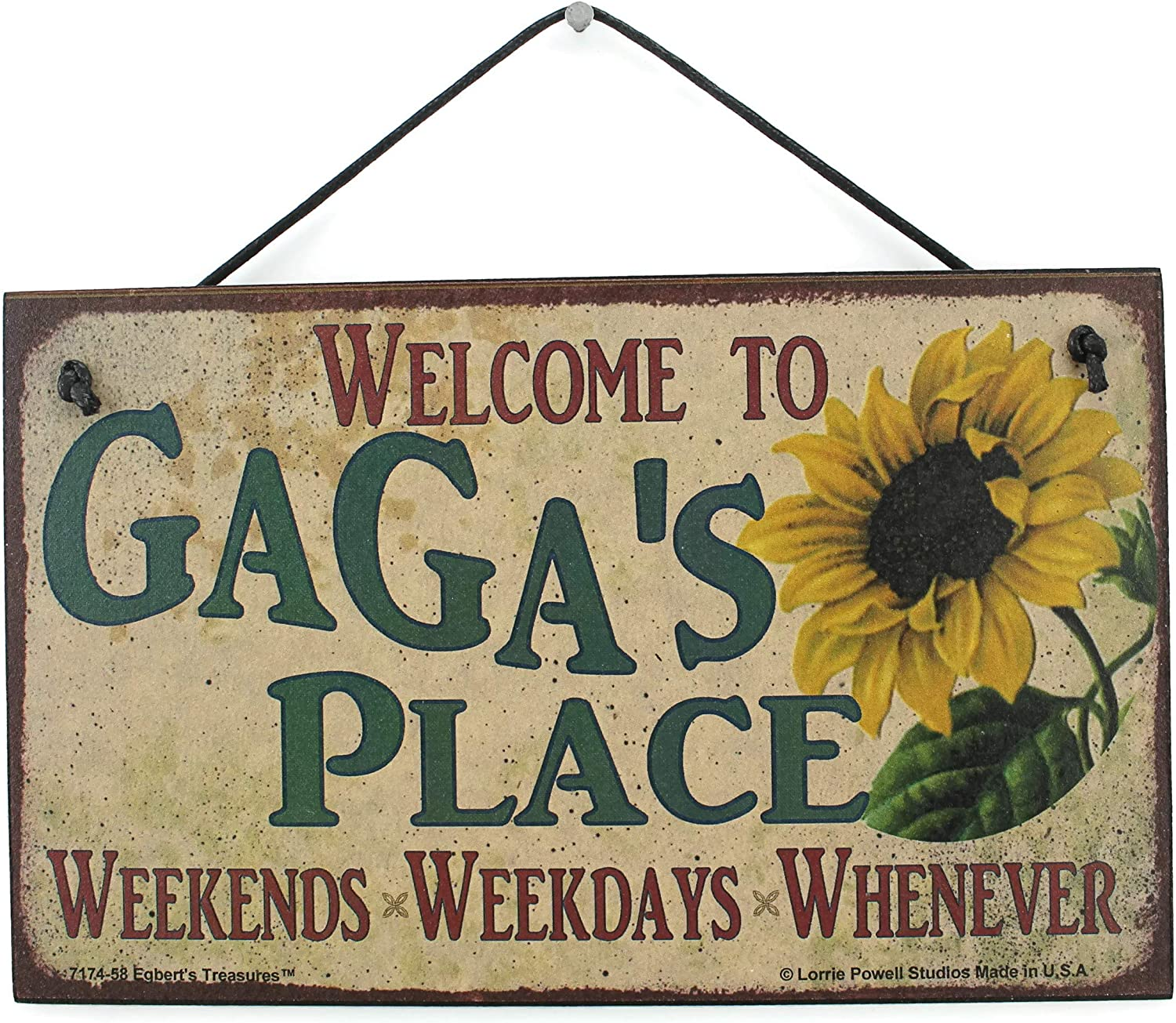 Egbert's Treasures 5x8 Vintage Style Sign with Sunflower Saying, Welcome to GAGA'S Place Weekends, Weekdays, Whenever Decorative Fun Universal Household Family Signs for Grandma (5x8)