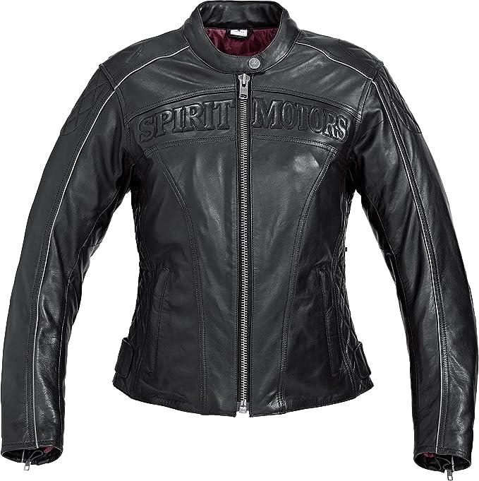 Spirit Motors Motorradjacke Mit Protektoren Motorrad Jacke Damen Klassik Lederjacke 1 0 Schwarz L Chopper Cruiser Sommer Bekleidung
