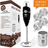 Milk Frother Coffee Art Set - Handheld Electric Portable Drink Mixer Battery Operated Foam Maker Wand - Cappuccino Hot Chocol