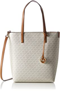 0fd1ce9ee478 MICHAEL Michael Kors Womens Hayley Logo Tote North South Handbag Ivory Large