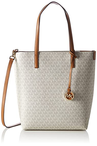 5ff4b3f76622e9 MICHAEL Michael Kors Womens Hayley Logo Tote North South Handbag Ivory Large
