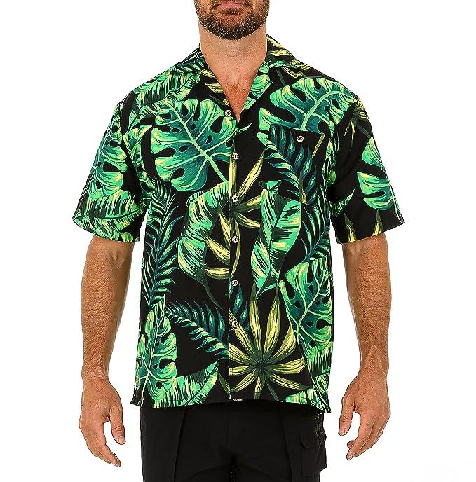 b18f5d40 UZZI Men's Hawaiian Casual Button Down Short Sleeve Beach Surf Aloha Party  Shirt (Small,