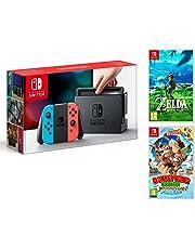 Nintendo Switch 32Gb Neon-Rot/Neon-Blau Pack Zelda: Breath of The Wild + Donkey Kong Country: Tropical Freeze