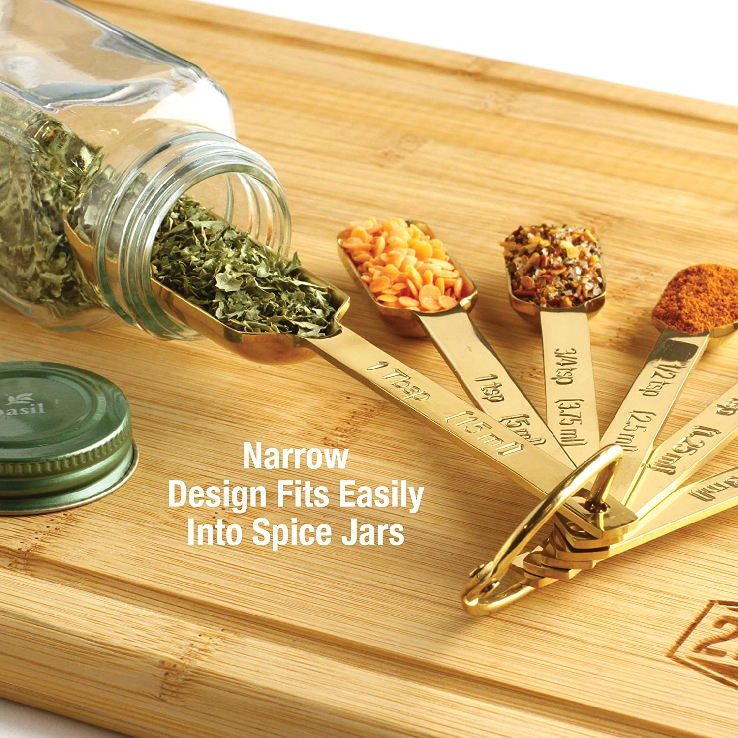 Premium Heavy-Duty Stainless Steel Set of 7 Includes Leveler Long Handle Design Fits in Spice Jar 2lbDepot Gold Measuring Spoons Narrow