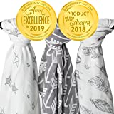 Muslin Swaddle Blankets, 3 Pack Large 47x47in Baby Blanket, Wanderer