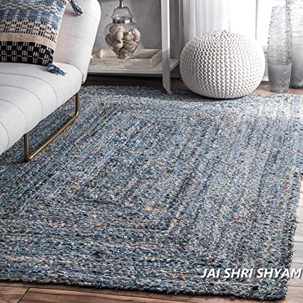 Jai Shri Shyam Jute Denim Braided Area Rug/Carpet/Handmade Floor Rug 3×5 ft