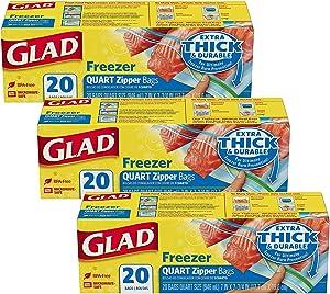 GLAD Medium Freezer Zipper Bags, Quart Size - 3 Pack x 20 Bags - 32 Fl Oz (7 x 7 3/4 Inches) Each