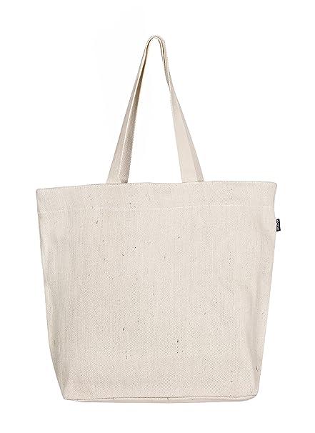 Eono by Amazon - Bolsa al hombro de 100 % algodón/yute, grande, reutilizable y ecológica, (Blanco crudo)
