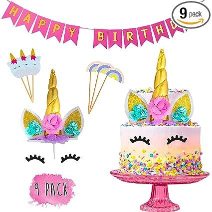 Juego de decoración para tartas de cumpleaños de unicornio ...