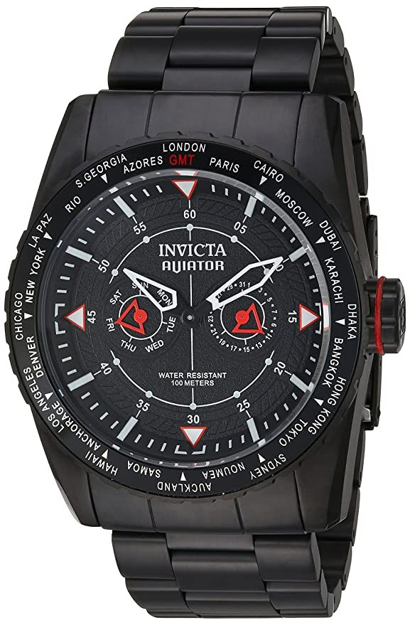 Amazon.com: Invicta Mens Aviator Quartz Watch with Stainless-Steel Strap, Black, 28 (Model: 22985: Watches