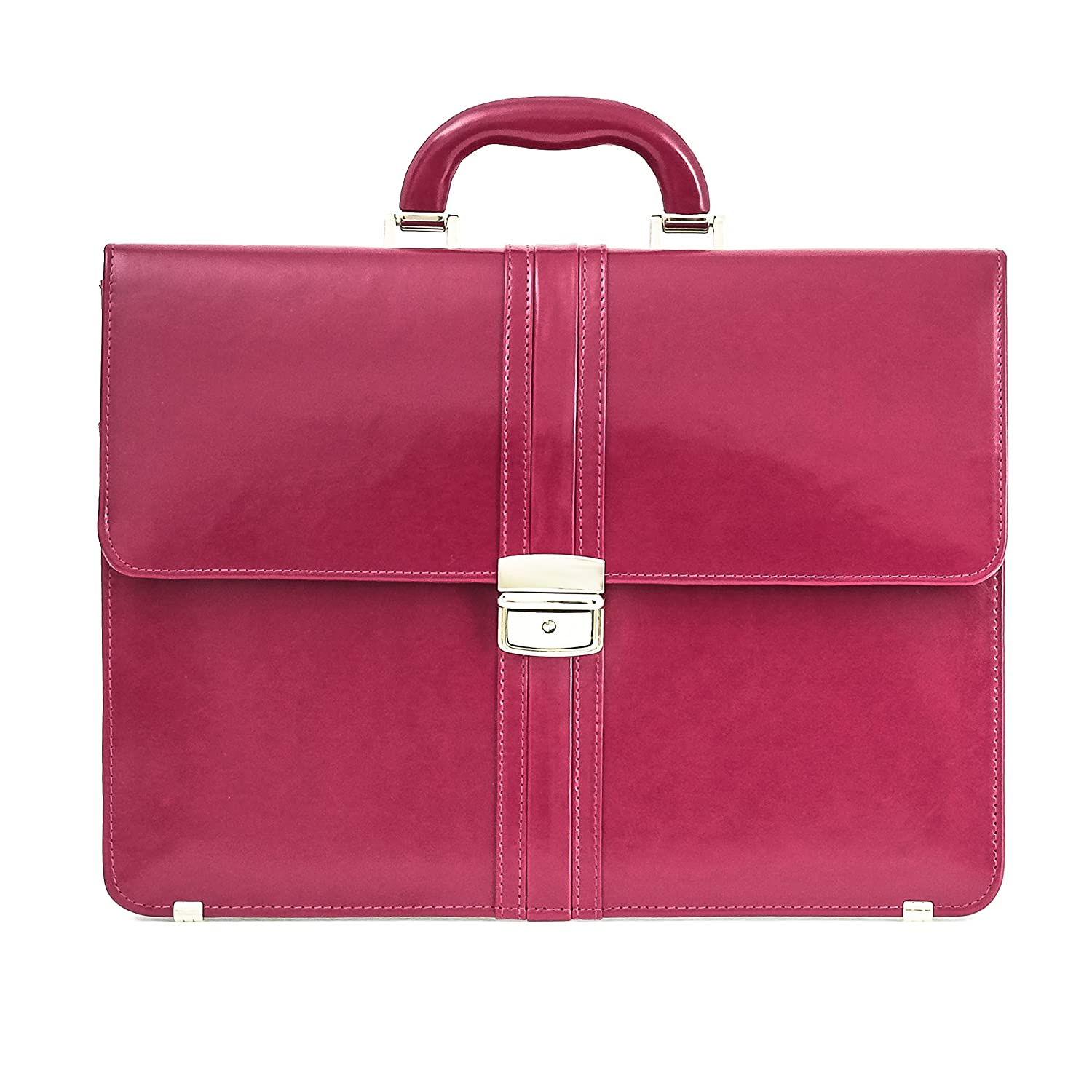 Dark Pink 15 Inches Genuine Leather Ladies Briefcase   Woman Smart Work Bag The Kendra Pink