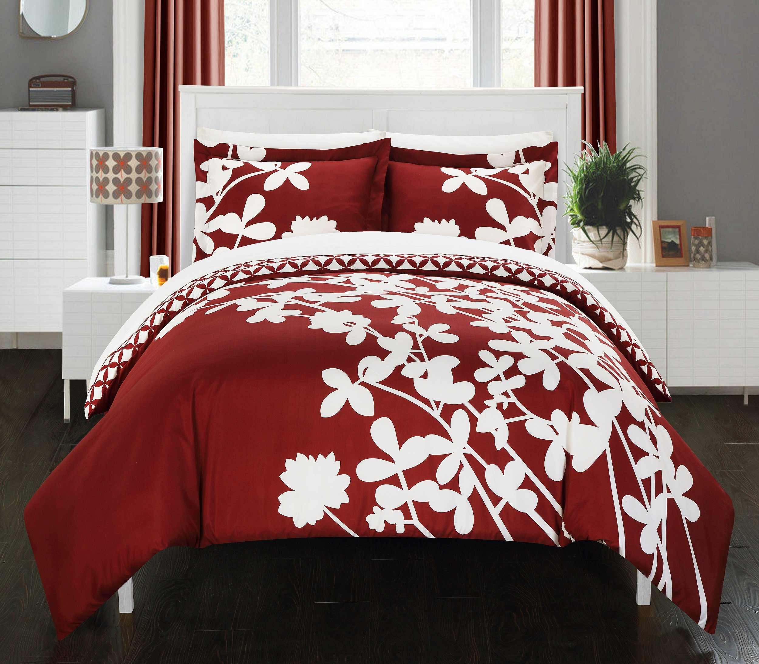 Chic Home 3 Piece Calla Lily Reversible Large Scale Floral Design Printed with Diamond Pattern Reverse Duvet Cover Set, King, Maroon Red