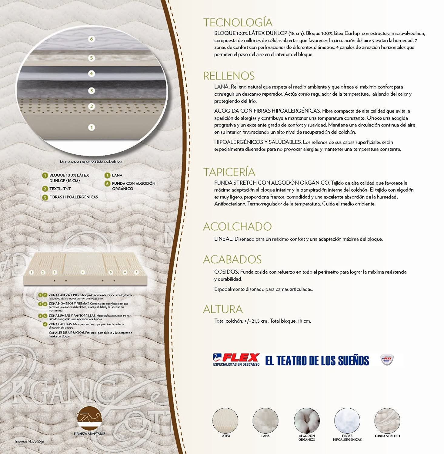 Dorwin 2454140031 - colchón de Latex enfundado Natur talalay Art gem 90x182 cm: Amazon.es: Hogar