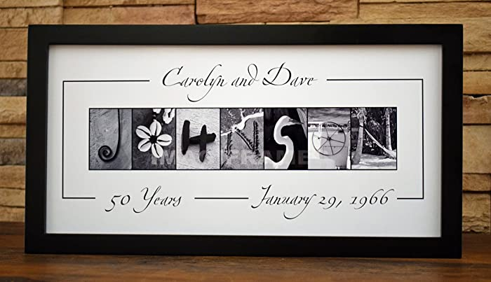 0bba7586ea90f Amazon.com: Anniversary Custom Name - Framed Photo Letter Art ...