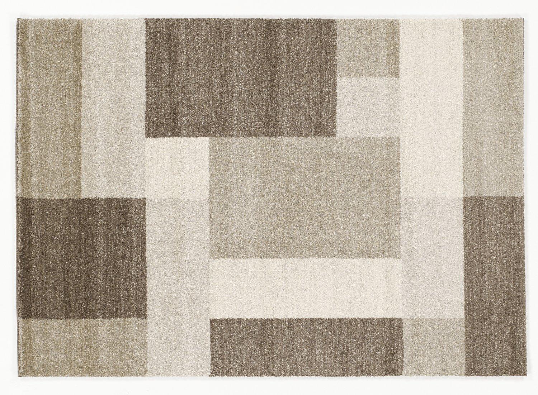 CONTESTO OBLONG moderner Teppich, Designer Teppich,Fresee in beige-braun, Größe  80x150 cm