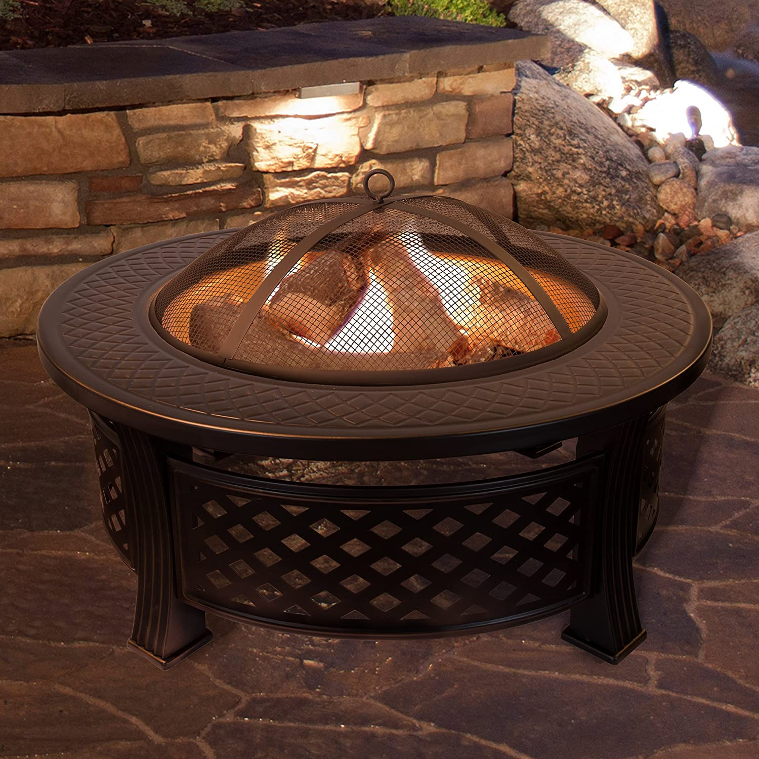 Amazon Com Fire Pit Set Wood Burning Pit Includes Spark Screen And Log Poker Great For Outdoor And Patio 32 Round Metal Firepit By Pure Garden Garden Outdoor