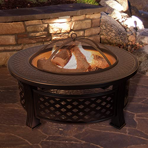 Fire Pit Set, Wood Burning Pit – Includes Spark Screen and Log Poker – Great for Outdoor and Patio, 32 Round Metal Firepit by Pure Garden