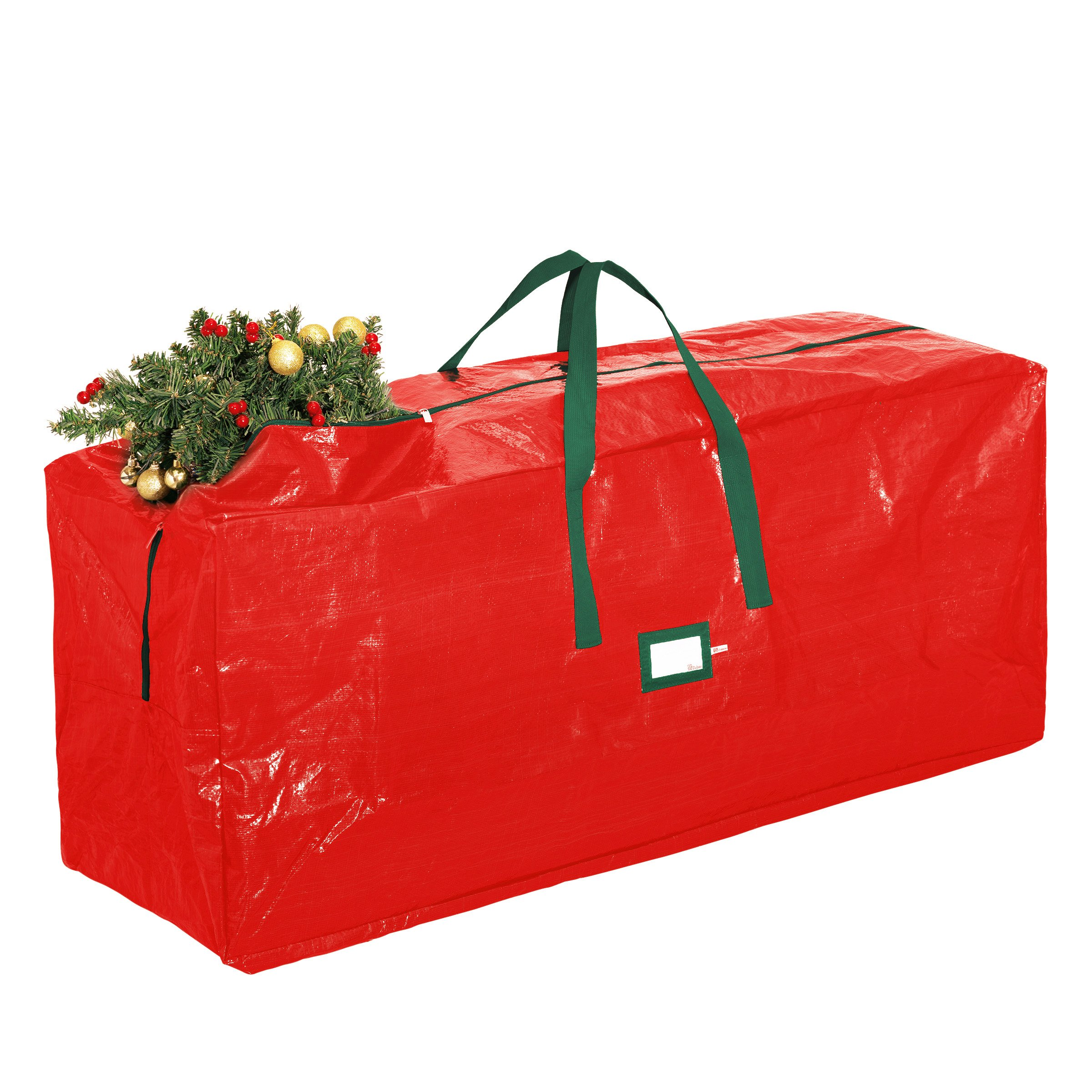 Zober Christmas Tree Storage Bag - Artificial Up to 7' Christmas Tree Organizer for Un-Assembled Trees, with Sleek Zipper - Also Accommodates Holiday Inflatables | 48''L 20''W 15''D (Red) by ZOBER