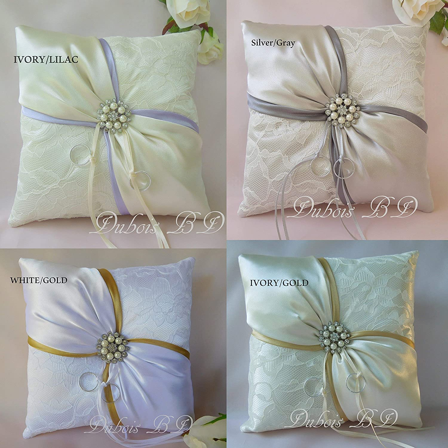 Ivory ring pillow Lilac ring pillow Sash ring pillow White and Gold ring bearer pillow Lace ring pillow Wedding ring pillow