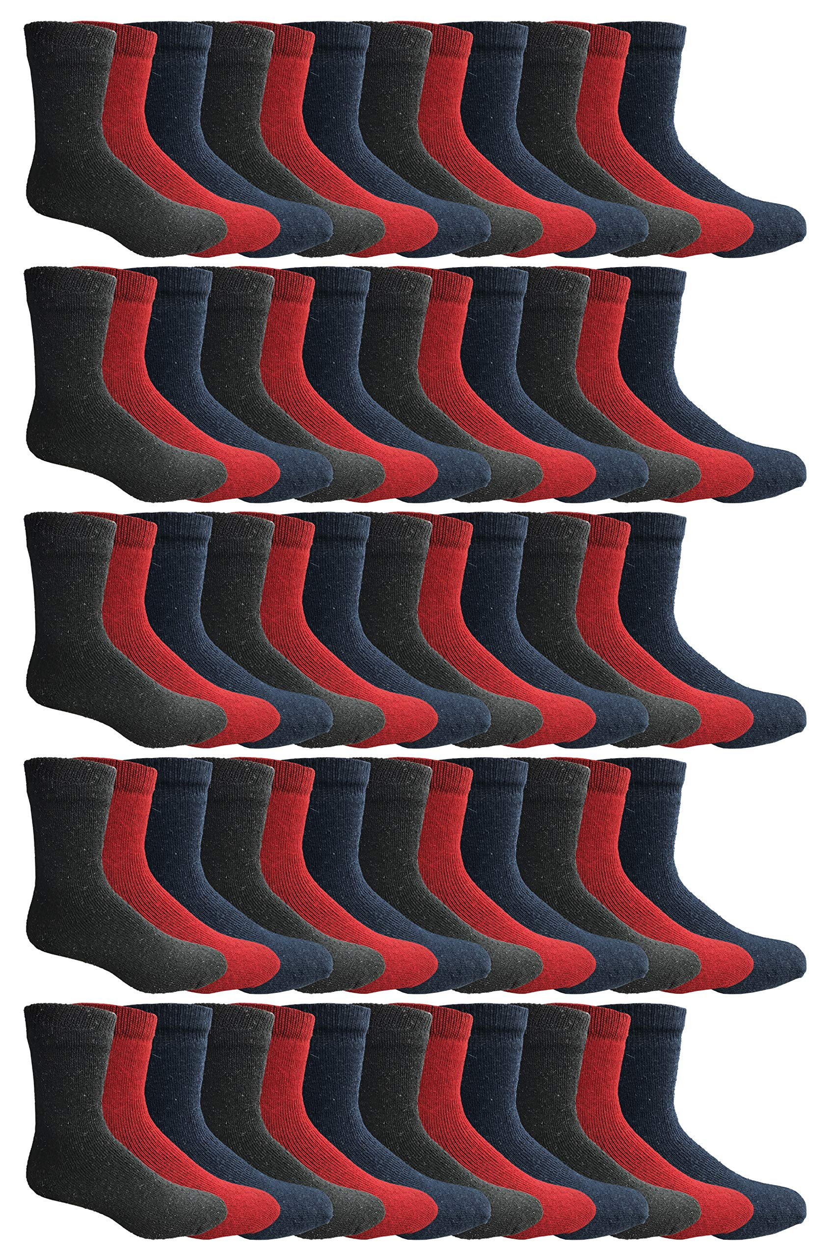 180 Pairs Case of Thermal Socks, Bulk Pack Thick Warm Winter Boot Sock, Extreme Weather, by Excell (60 Pairs Assorted, 9-11 (Womens)) by Wholesale Sock Deals