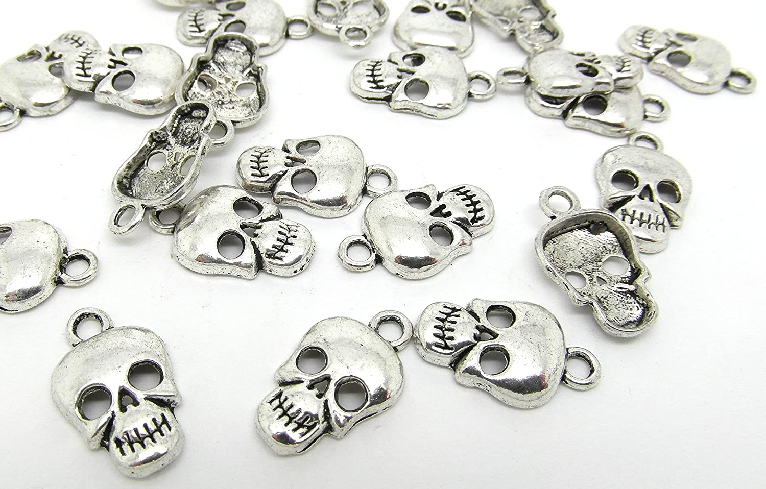 20 Skull Charms Antique Silver Tone 17mm Gothic Halloween Scary Pendants J07782H Julz Beads