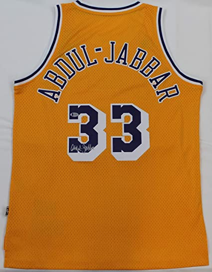 1e92aaec6 Kareem Abdul-Jabbar Autographed Yellow Los Angeles Lakers Jersey - Hand  Signed By Kareem Abdul