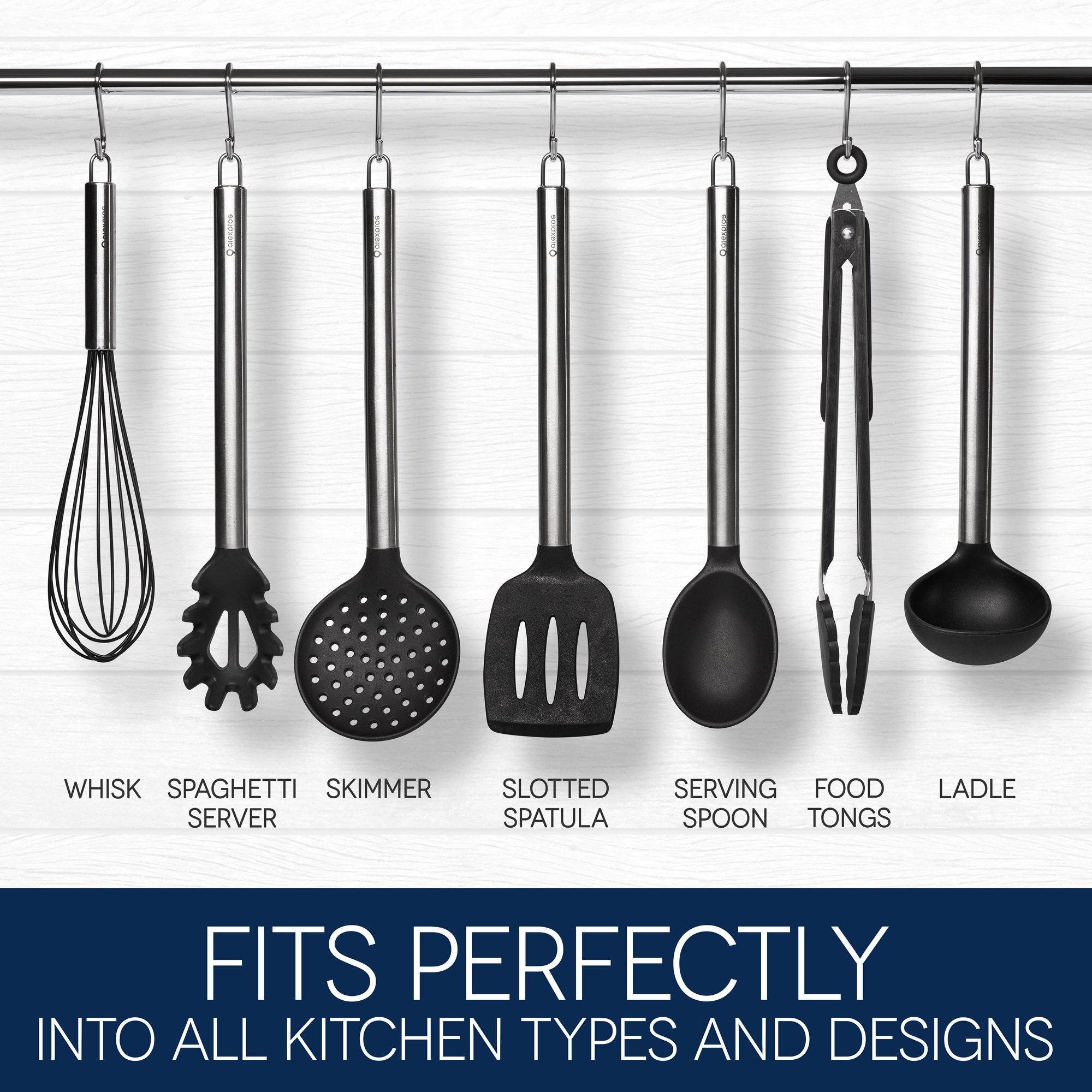 7 pack stainless steel and silicone cooking set non stick cooking