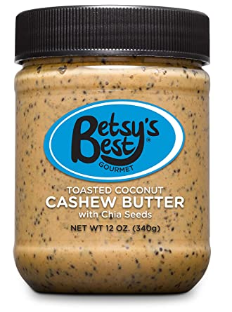 Gourmet Toasted Coconut Cashew Butter by Betsys Best - Non-GMO - Toasted Coconut, Chia Seeds, Organic Stevia & Demerara Sugar, Vegan Friendly, Best ...